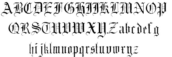 Old English Alphabet Gothic Font