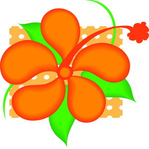 Orange Tropical Flower Clip Art