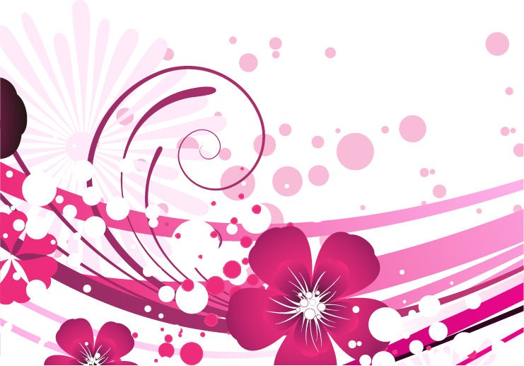 14 Pink Flower Vector Images