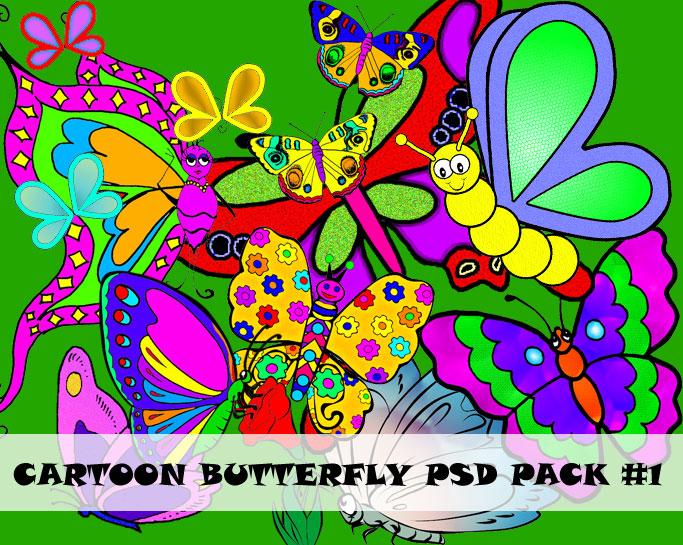 PSD Cartoon Butterfly