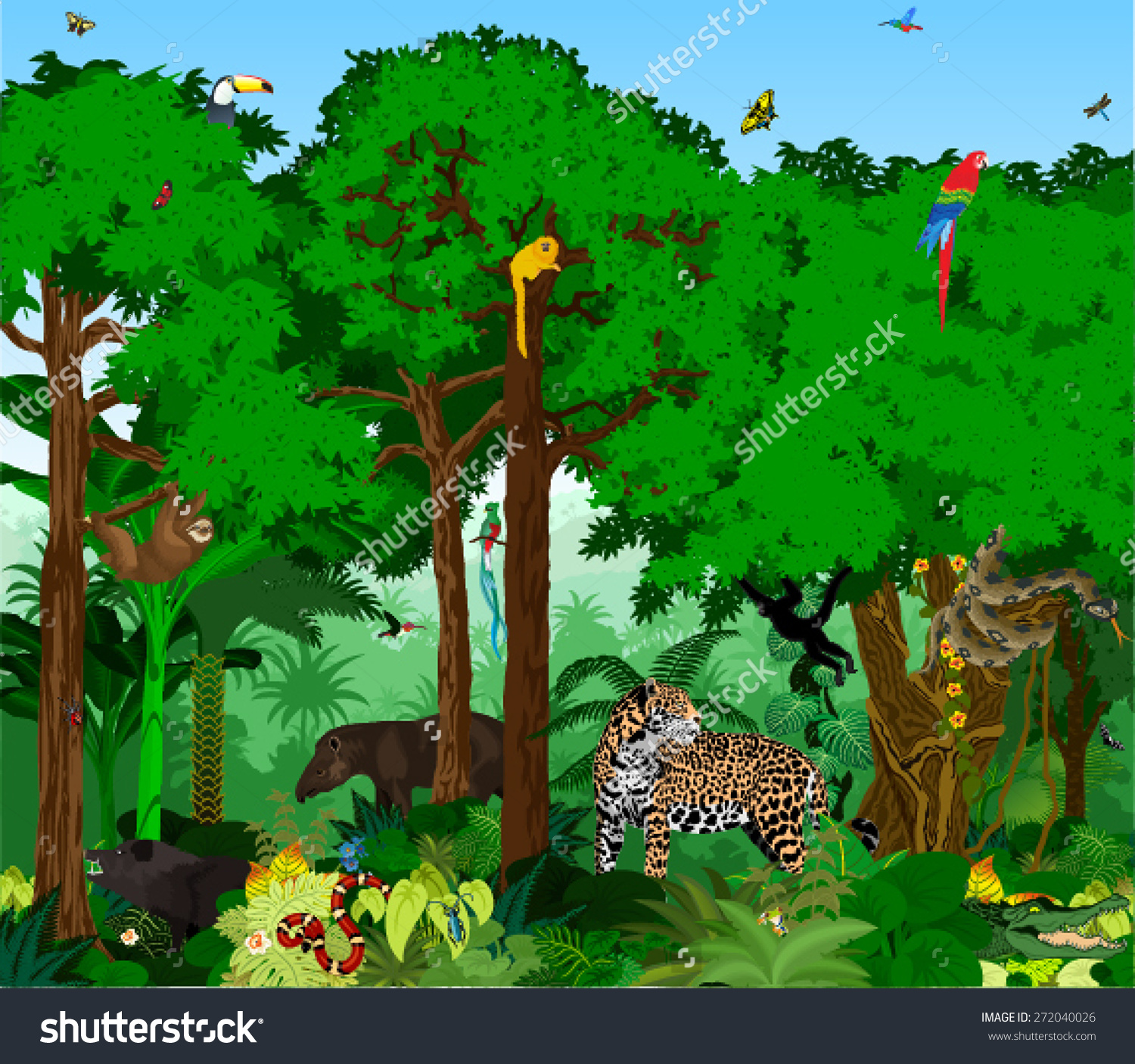 14 Trees Forest Animals Vector Graphics Images - Forest ...