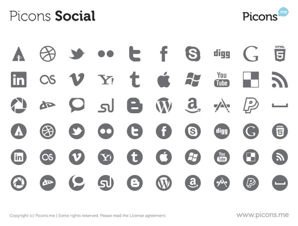 Round Social Media Icons Vector Free