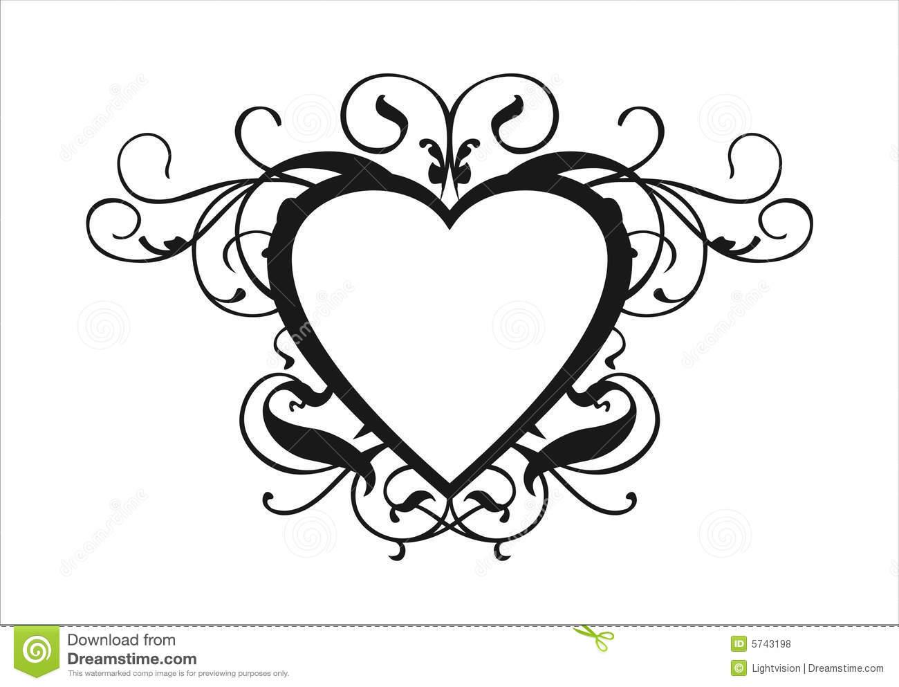 Scroll Hearts Wedding Clip Art