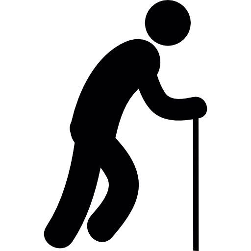 Silhouette Man Walking with Cane