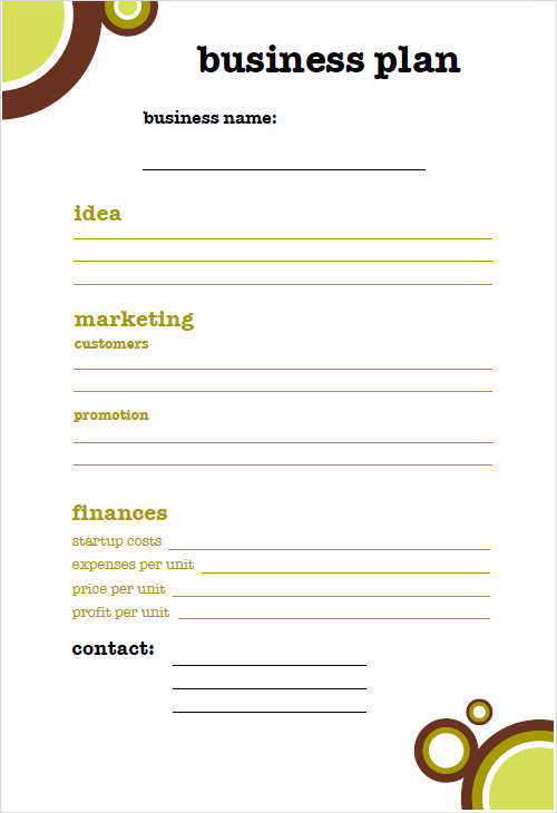 business plan schrijven template design