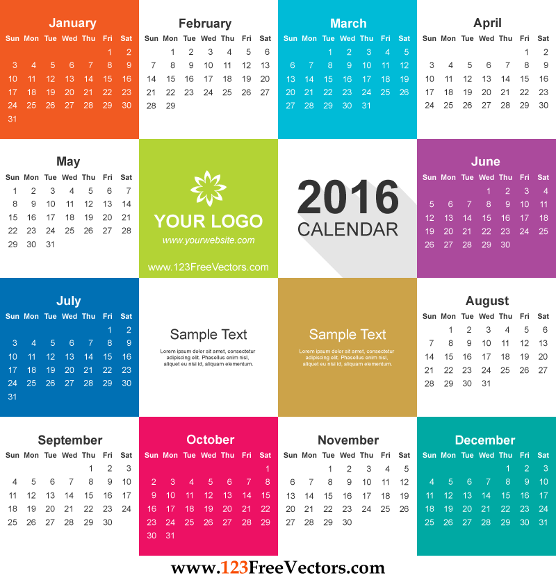 Vector Graphics Calendar 2016