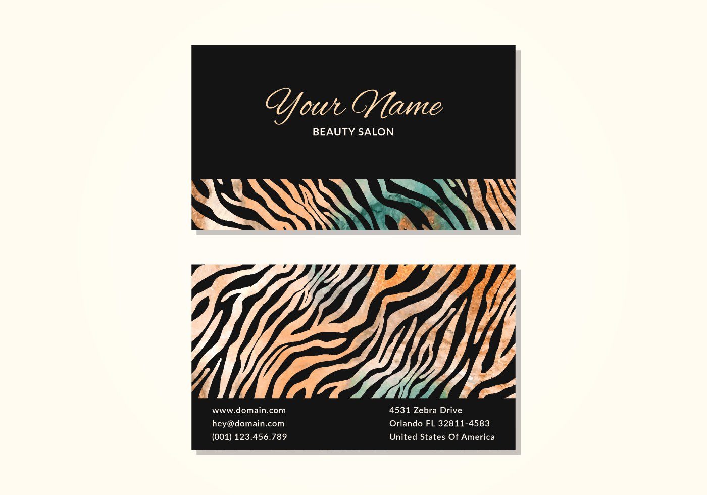 5 black orange business card free vector icons images business zebra print business cards reheart Choice Image