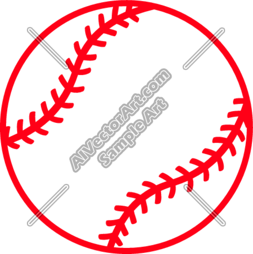 Baseball Heart Vector Clip Art