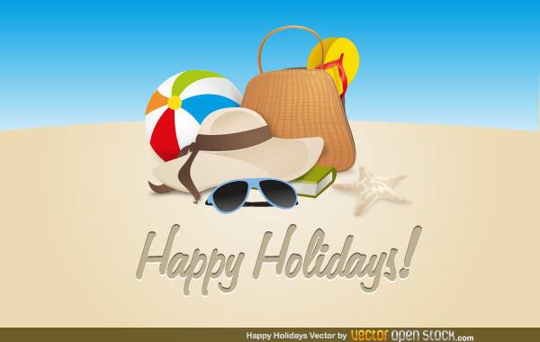 Beach Happy Holidays Clip Art Free