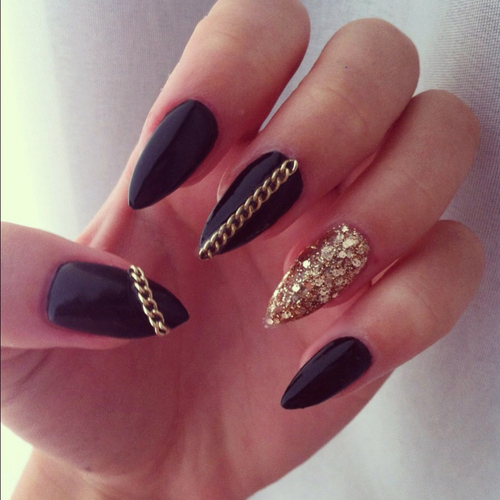 Black Acrylic Nails Tumblr