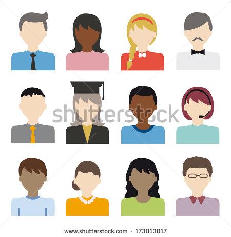 Black Flat Icons People