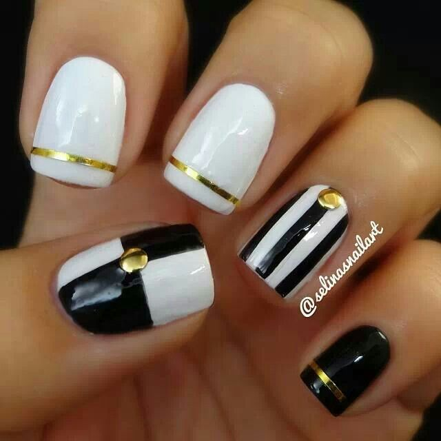 Black White and Gold Nail Designs