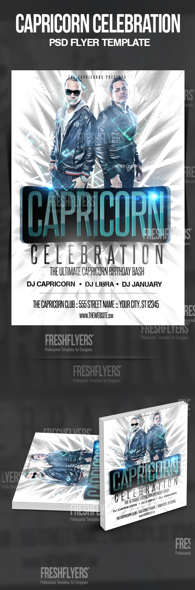 Capricorn Birthday Party Flyer