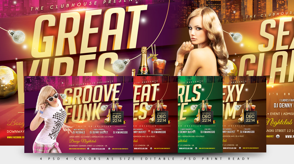 14 PSD Club Flyer Model Images