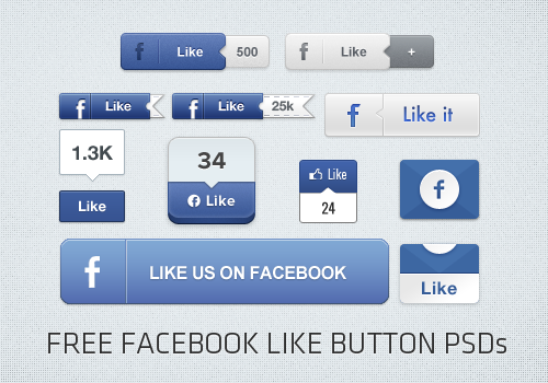 7 Free Facebook Like Button PSD Images