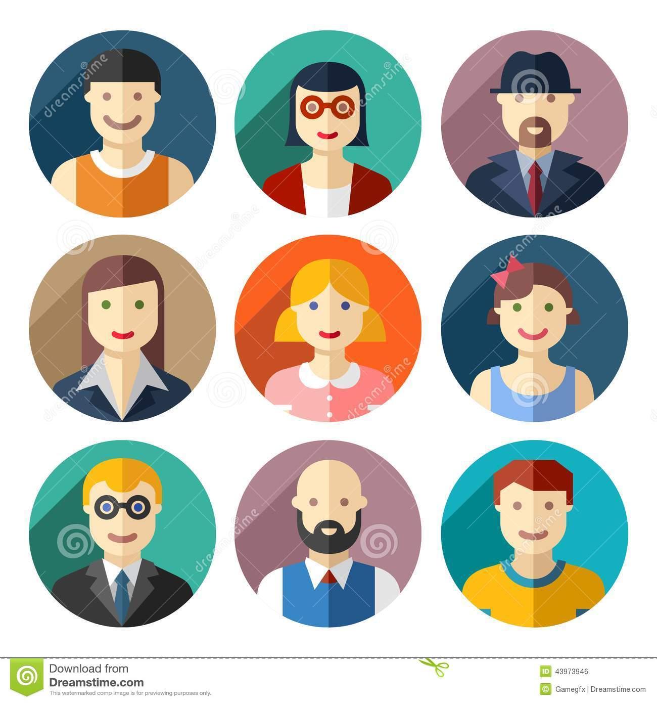 Flat Icons People Avatars