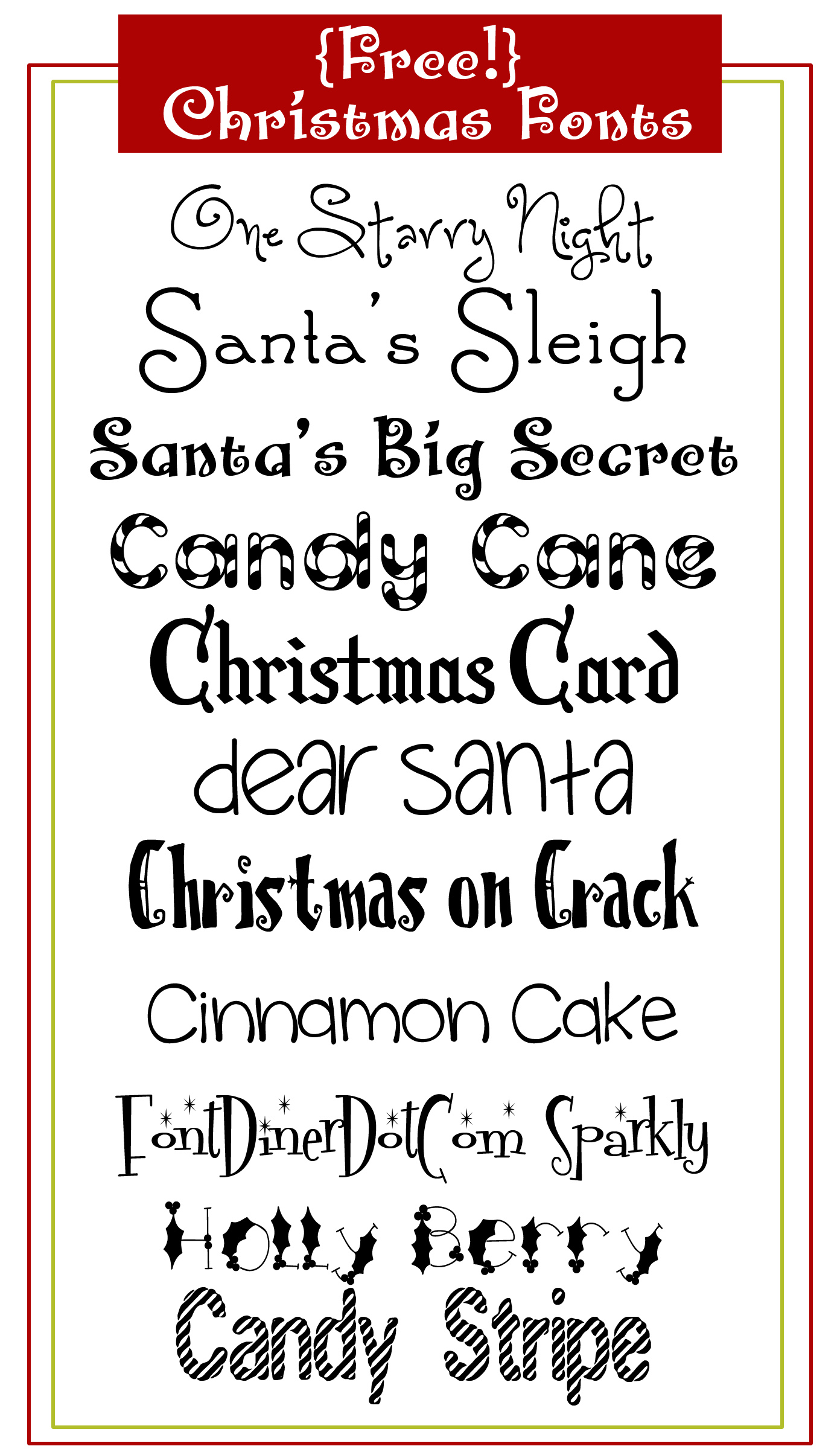 9 Christmas Font TrueType Images