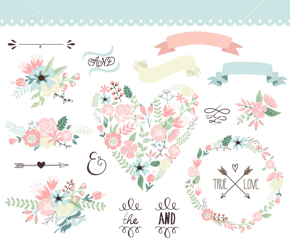 19 Floral Wedding Vector Images