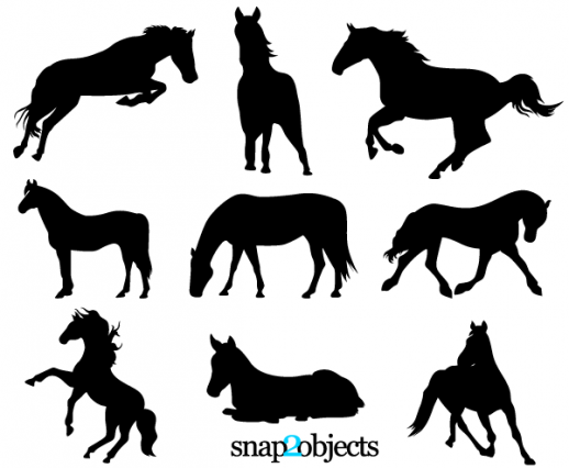 17 Free Standing Pony Vector Silhouettes Images