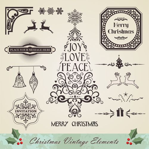 15 Vintage Christmas Ornaments Vector Images