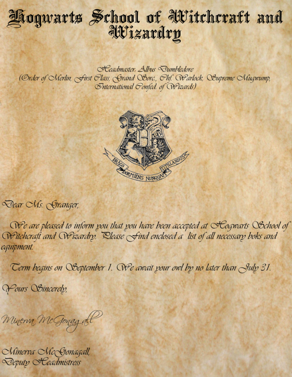 Harry Potter Hogwarts Acceptance Letter Printable
