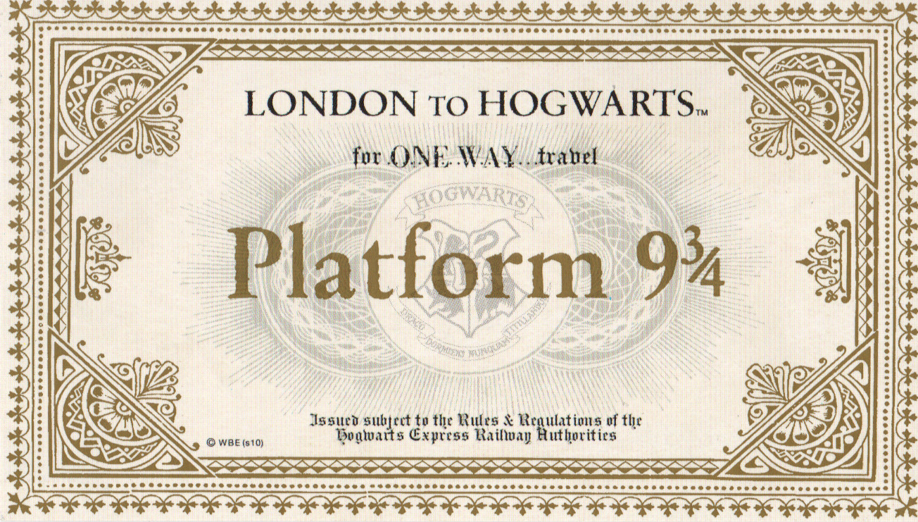 Harry Potter Platform 9 3 4 Ticket Printable