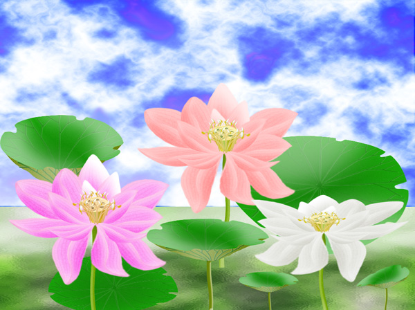 Lotus Flower with Leaves Template