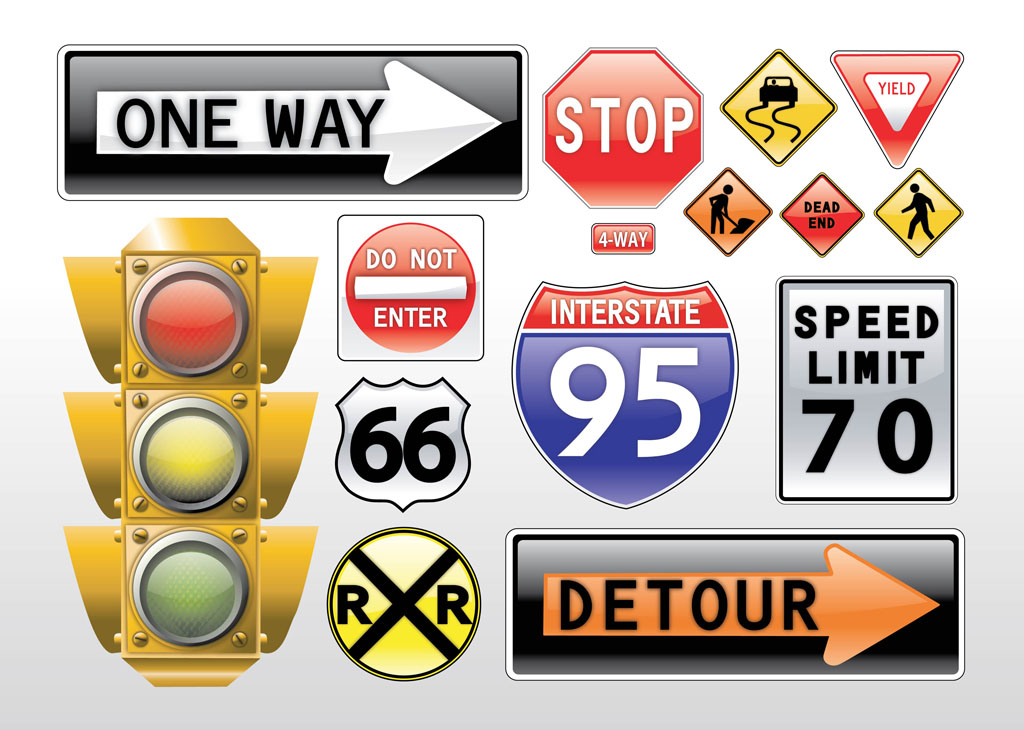 11 Free Vector Road Signs Images