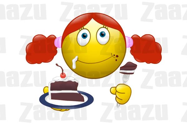 Smiley Eating Chocolate Cake
