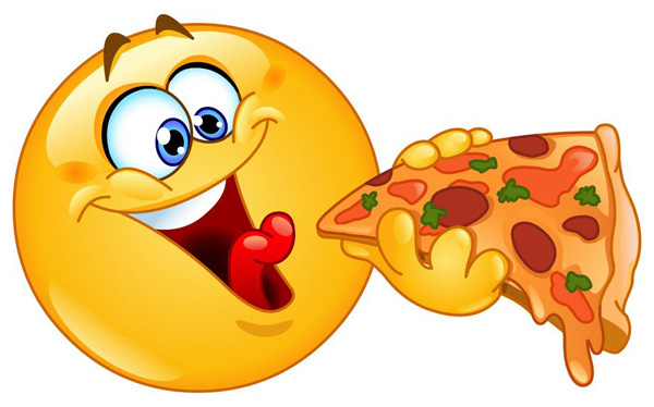 Smiley-Face Eating Pizza