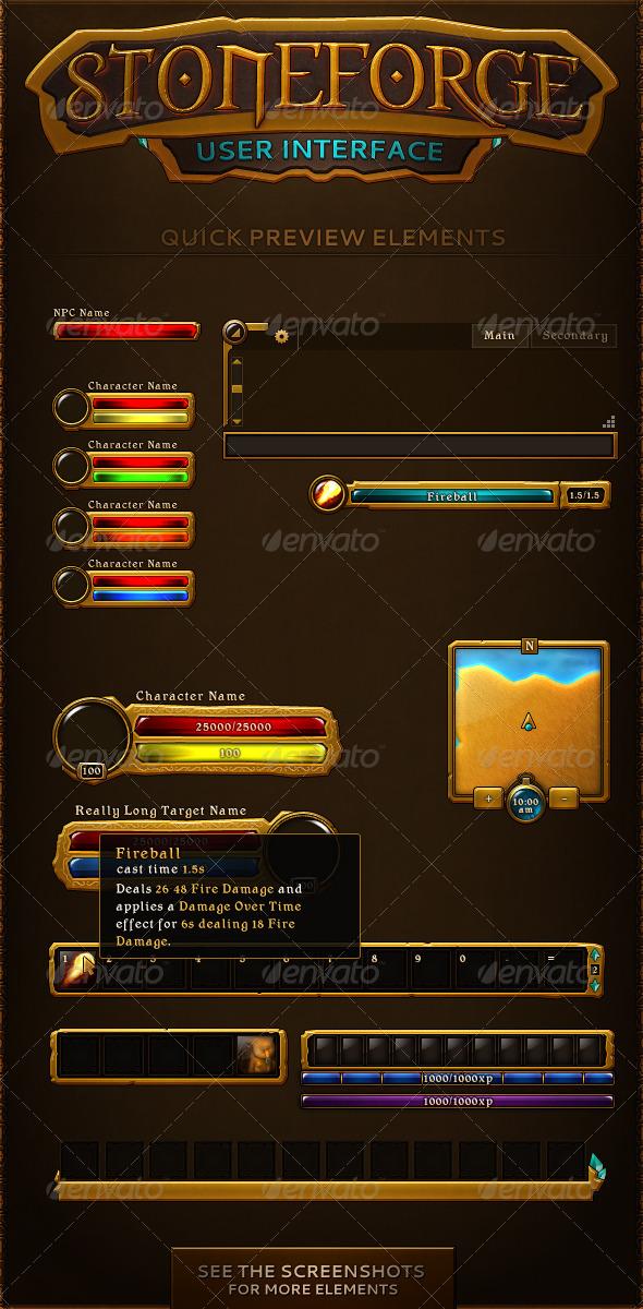 15 Game UI PSD Navigation Images - Game UI PSD, RPG Game UI