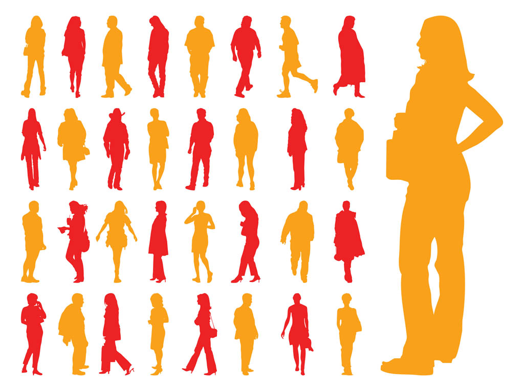 15 Walking Silhouettes Free Vector Graphics Images
