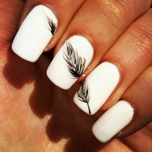 15 White Nail Designs Images White Pointy Nails With Designs Cute