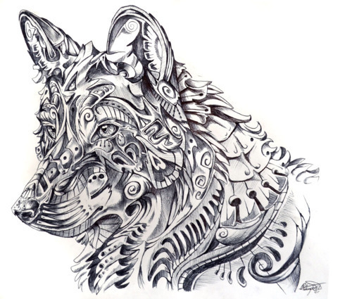 Wolf Black and White Abstract Drawings