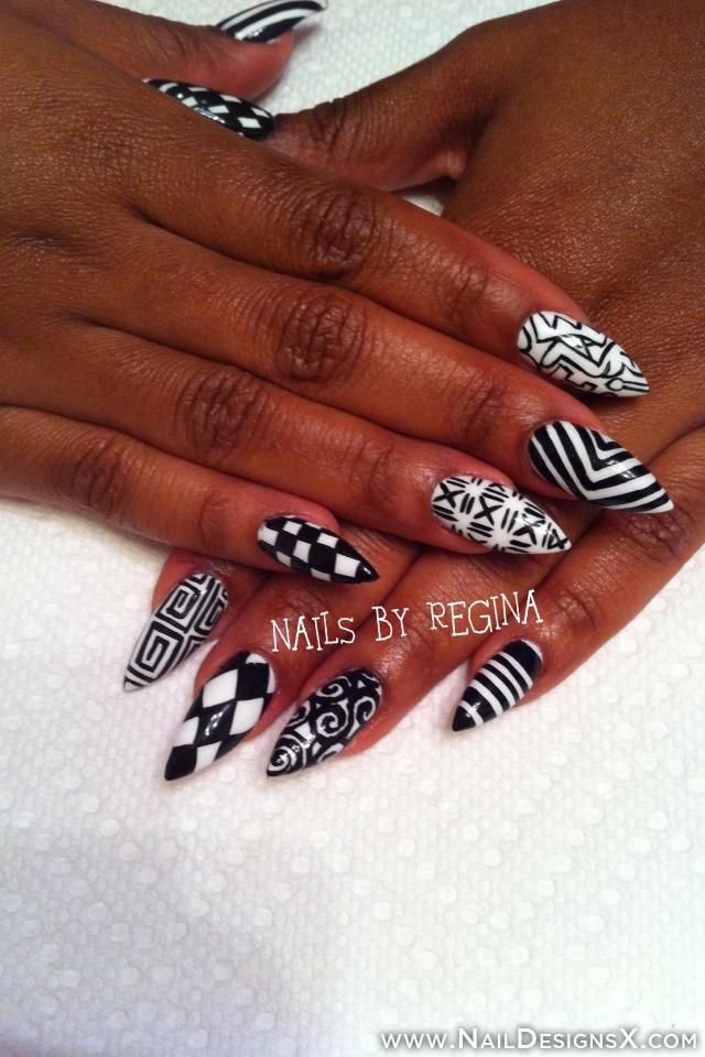 13 Black Stiletto Nail Designs Images