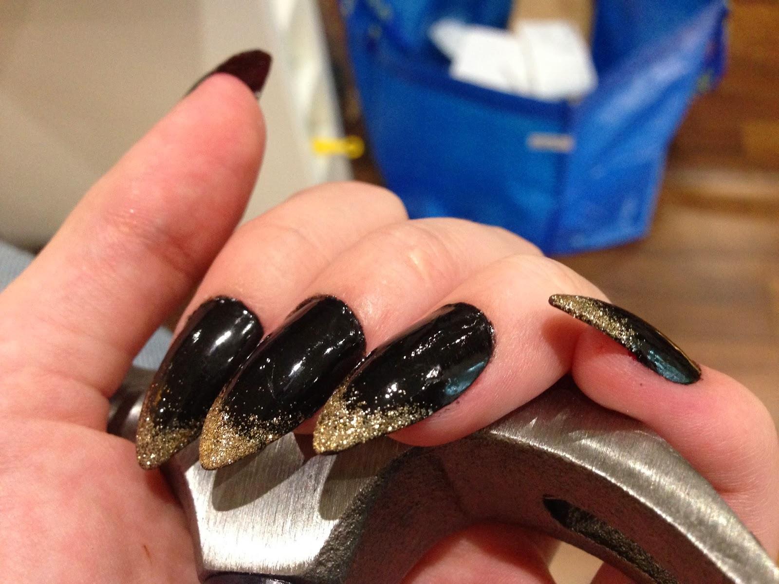 Colorful Black Pointy Nail Designs Festooning - Nail Art Design ...