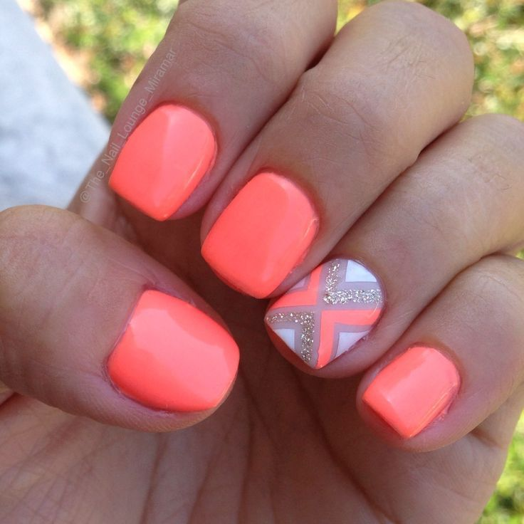 Bright Neon Coral Orange Nail Art Design