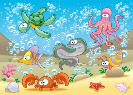 9 Cartoon Animals Vector 001 Images