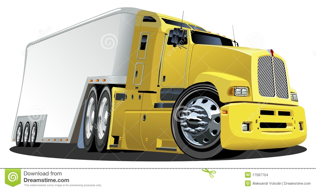 Cartoon Semi Cargo Truck Vector