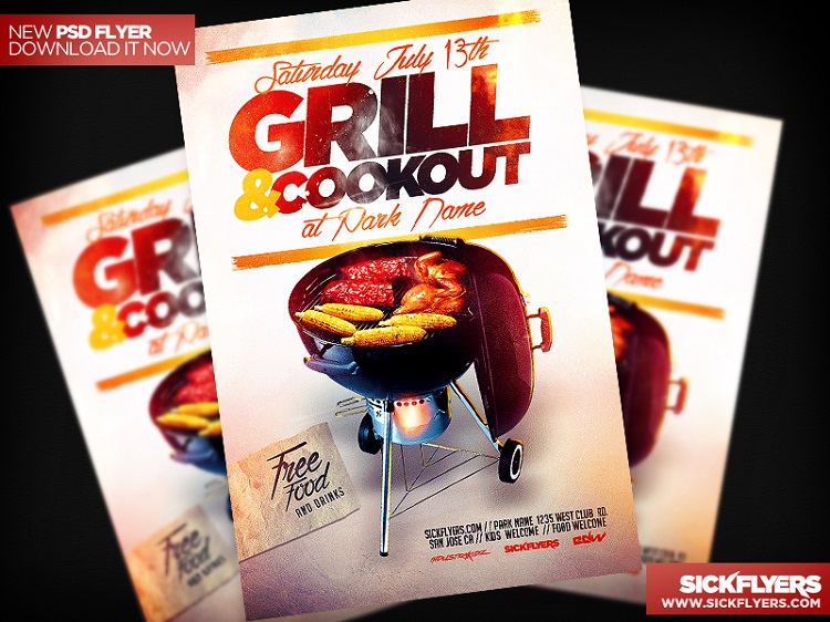 14 Cookout Flyer Template PSD Images