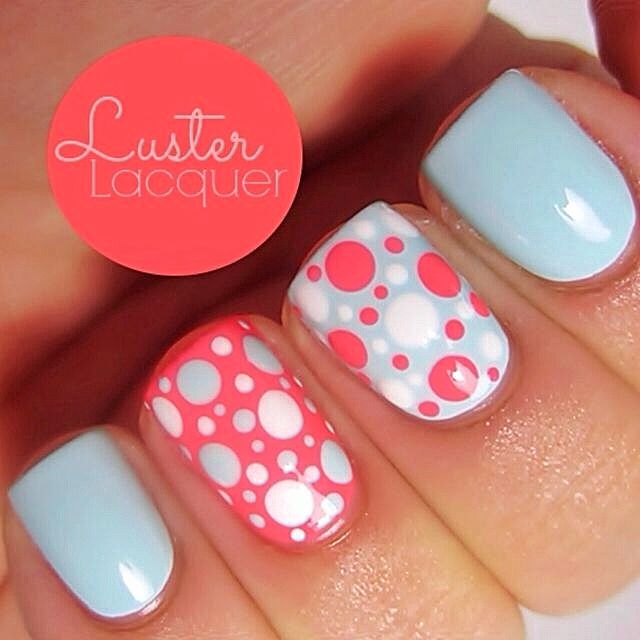 Coral and Blue Nail Designs