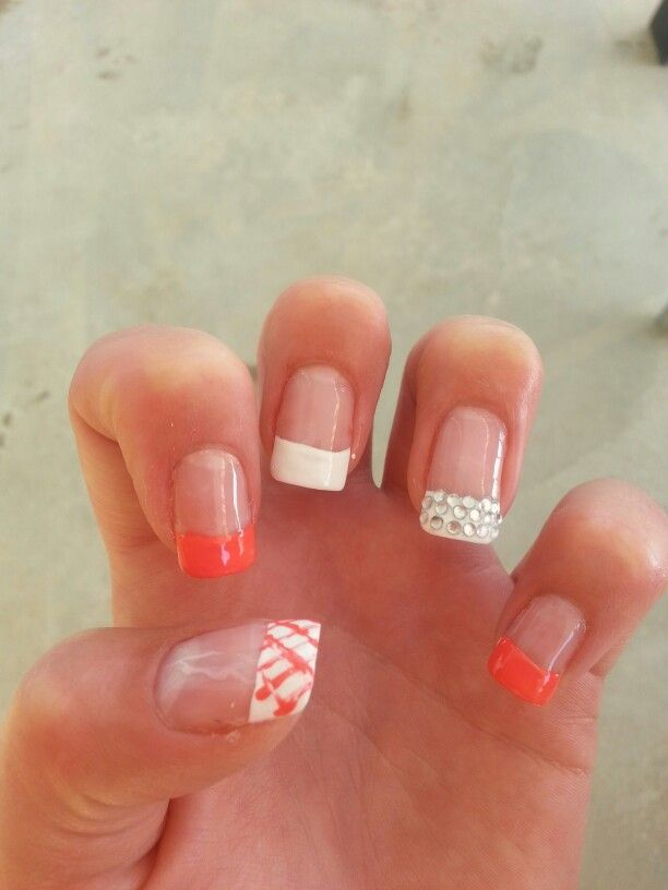 Coral and White Nails Designs