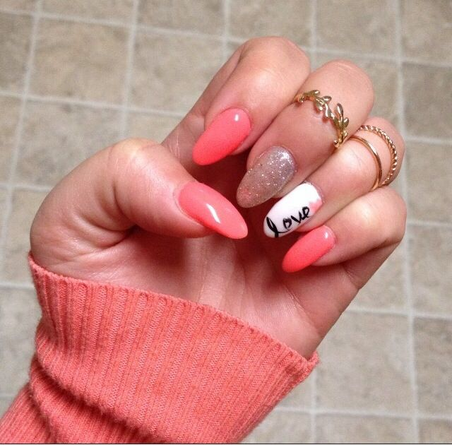 16 Coral Nail Designs Images Bright Neon Coral Orange Nail Art