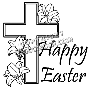 Easter Cross Clip Art Black and White