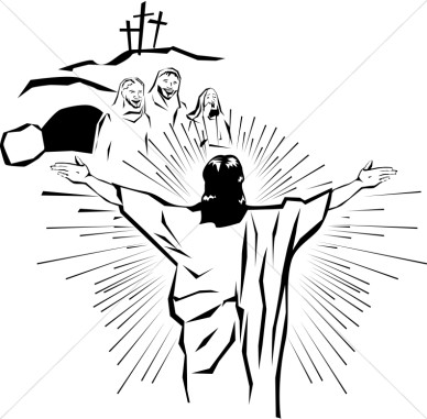 Easter Religious Clip Art Black and White
