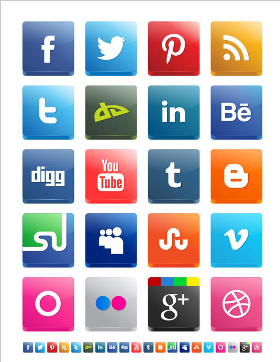 14 Free Social Media Vectors 3D Images