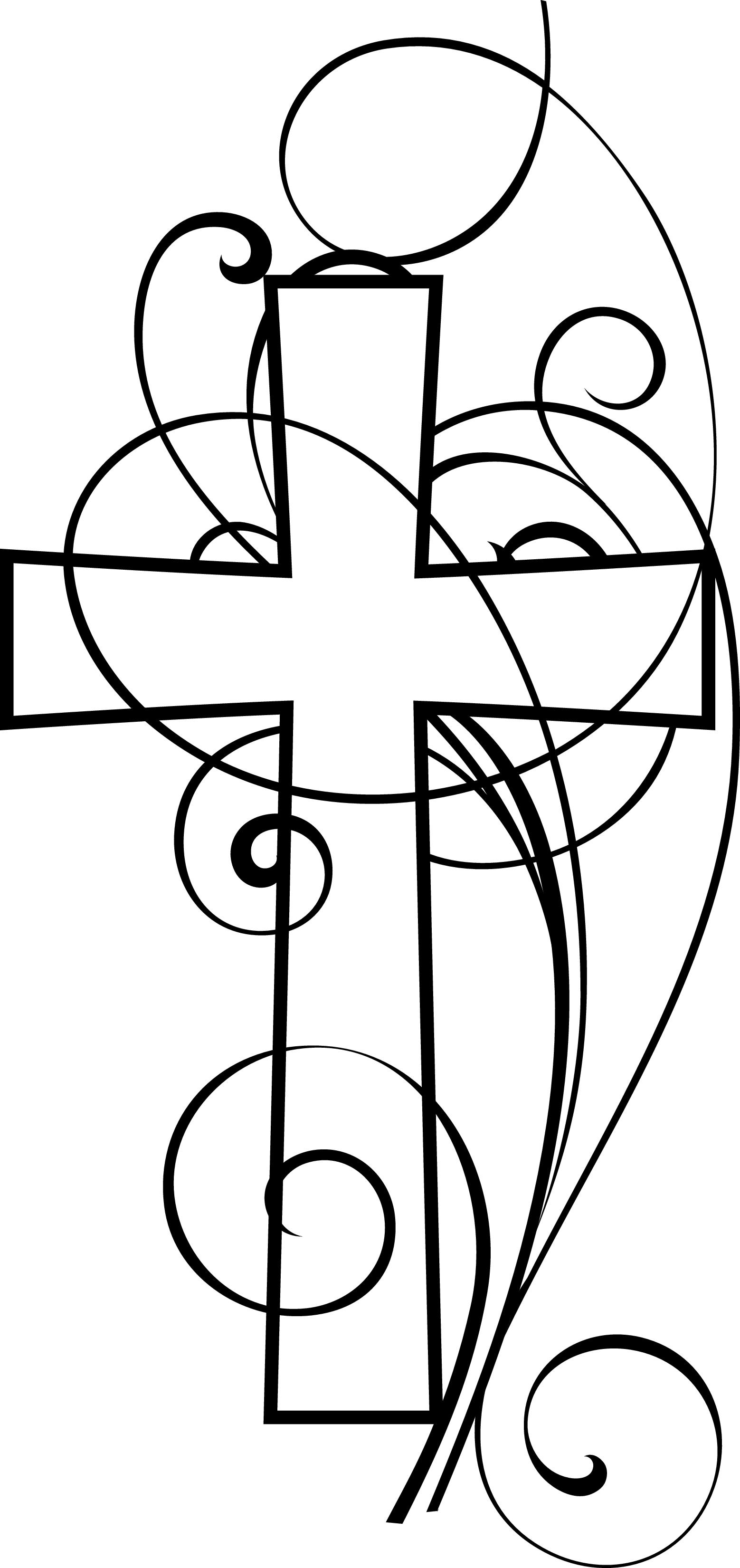 Free Christian Cross Clip Art Black and White