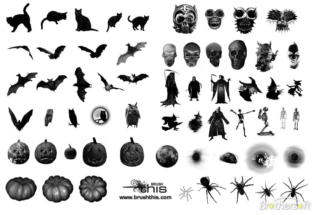 18 Halloween Photoshop Brushes Images