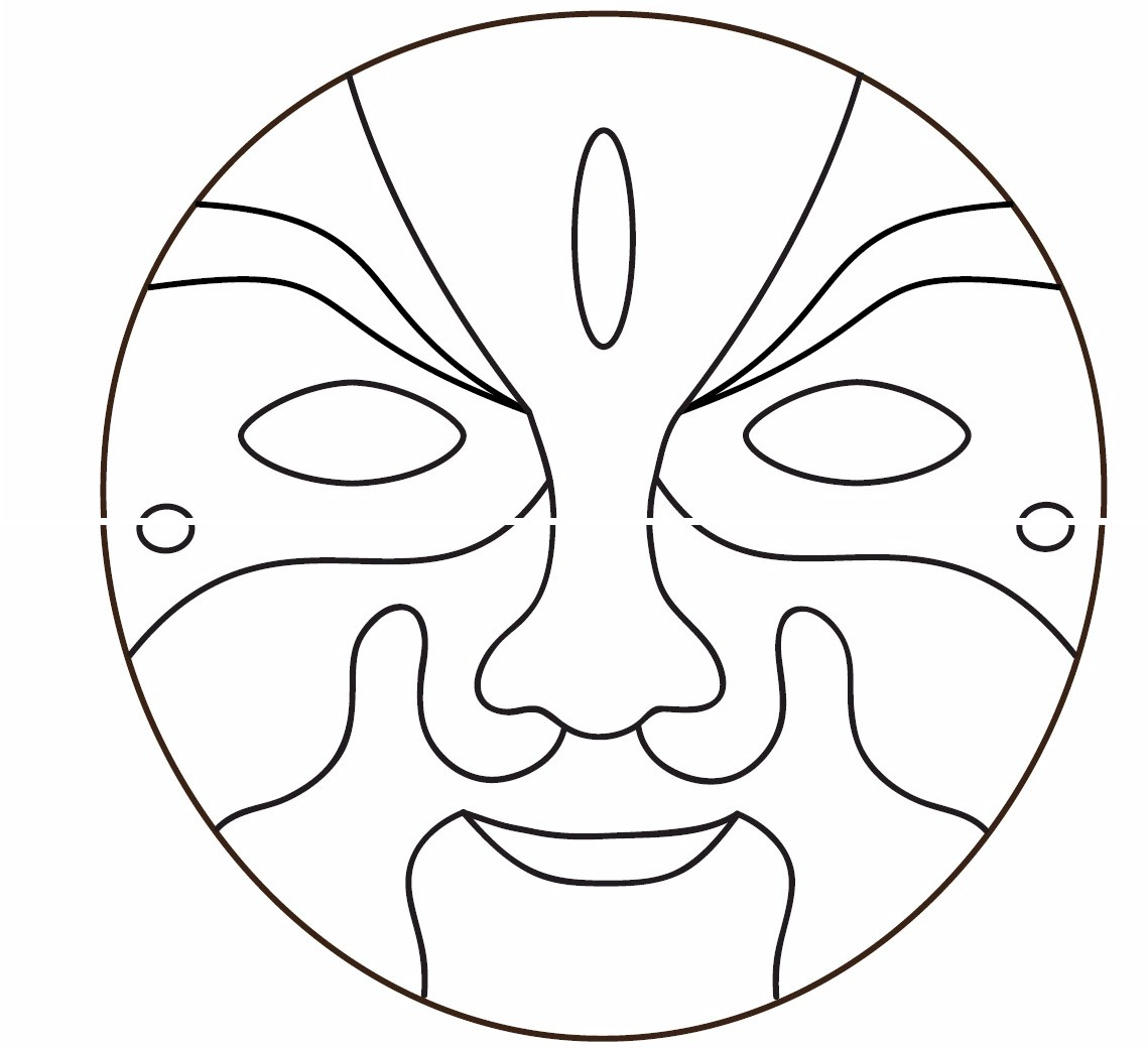 graphic regarding Free Printable Masks Templates named 13 African Mask Template Pics - African Mask Coloring
