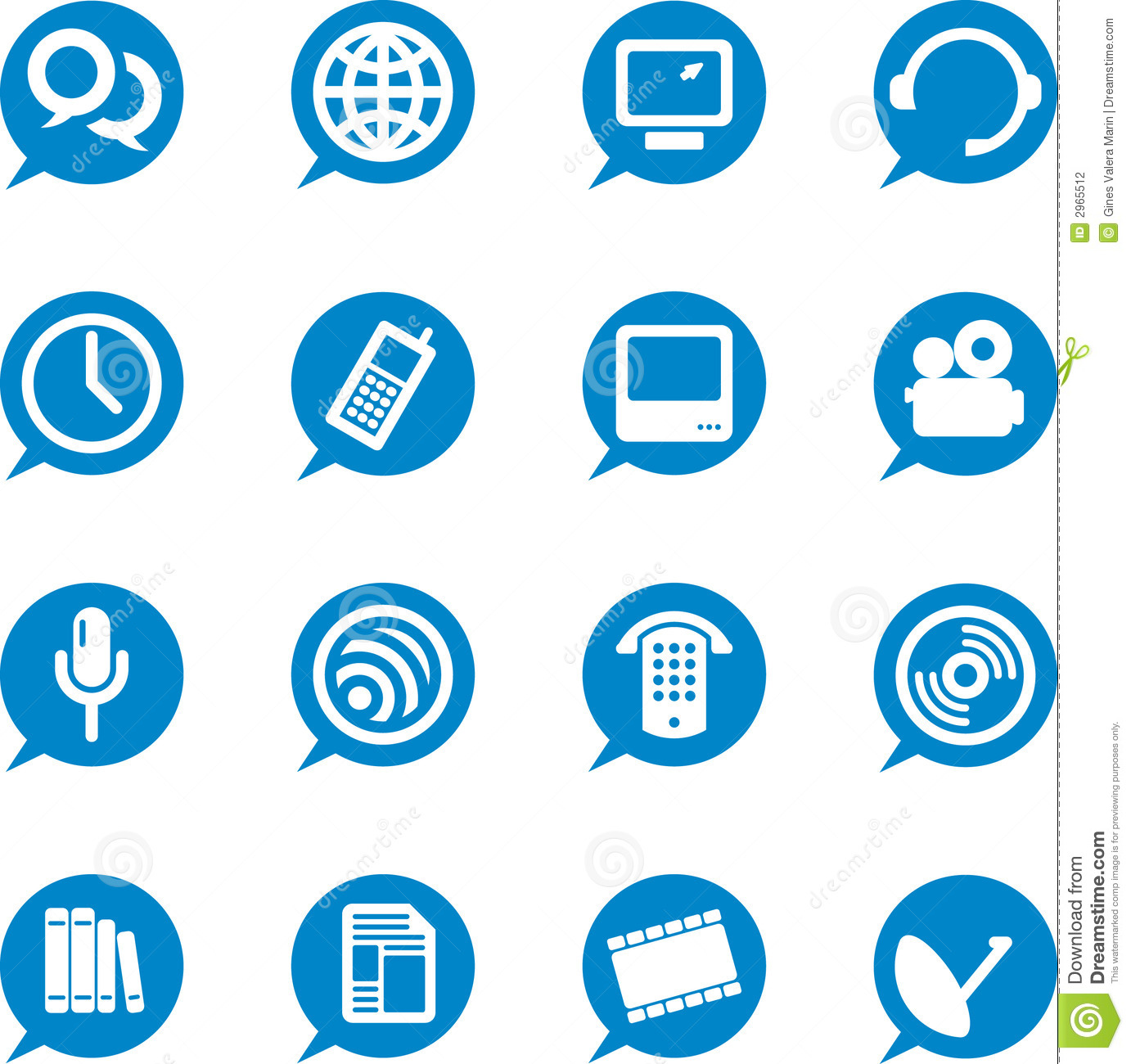9 Communication Icon Blue Round Images